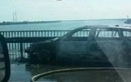 В Киеве стоит Южный мост из-за сгоревшего автомобиля